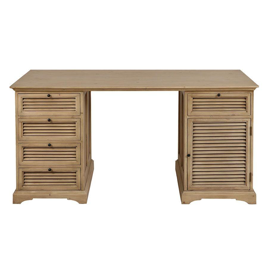 Bureau avec tiroirs en épicéa massif - Vénitiennes