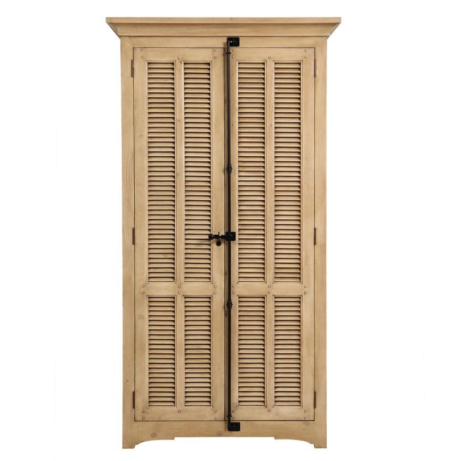 Armoire penderie 2 portes en épicéa naturel cendré - Vénitiennes