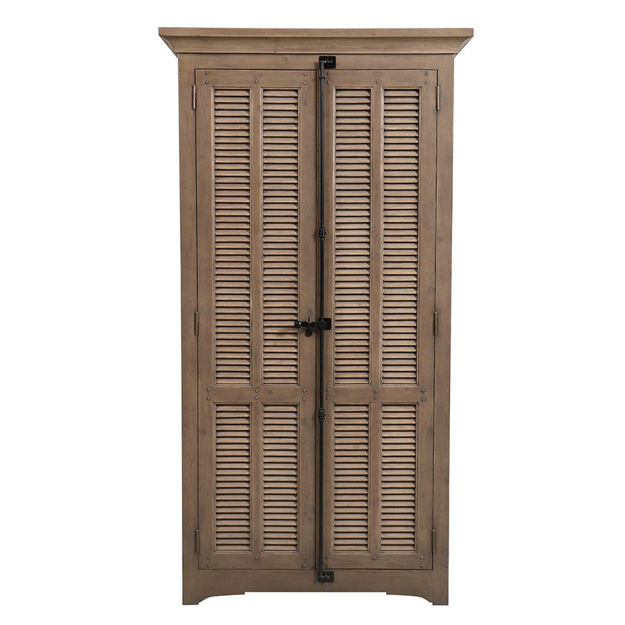 Armoire penderie noire 2 portes en épicéa massif brun fumé - Vénitiennes