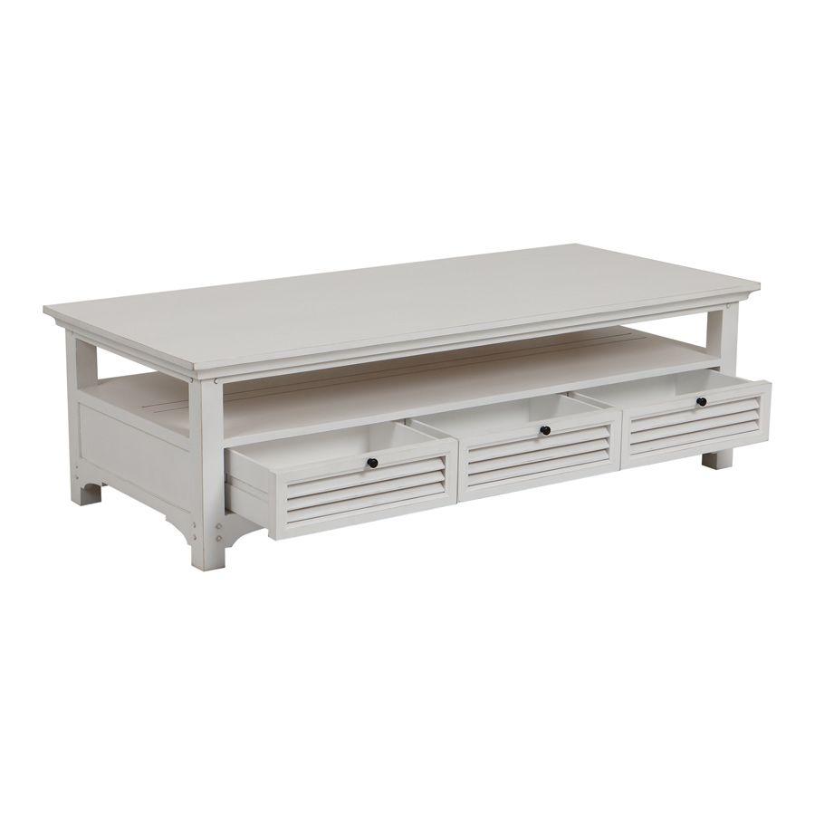 Table basse blanche rectangulaire en épicéa massif - Vénitiennes