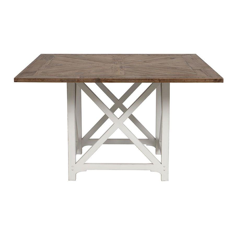 Table carrée blanche en épicéa 8 personnes - Vénitiennes