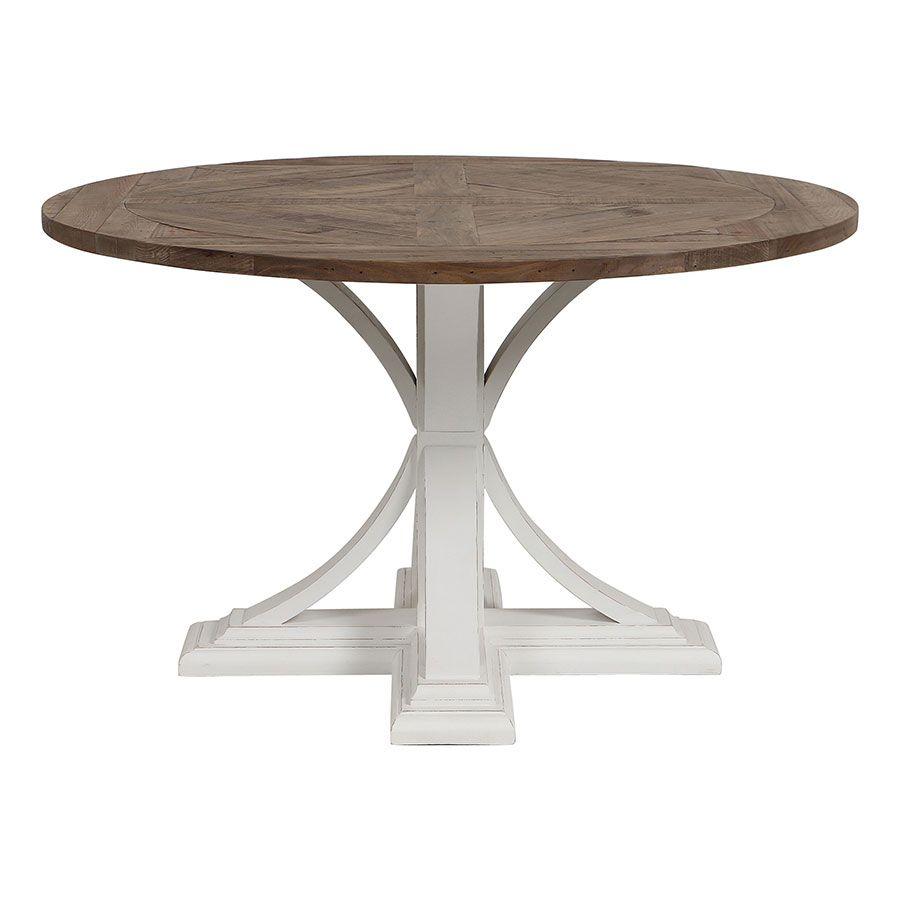 Table ronde blanche en épicéa 4 à 6 personnes - Vénitiennes