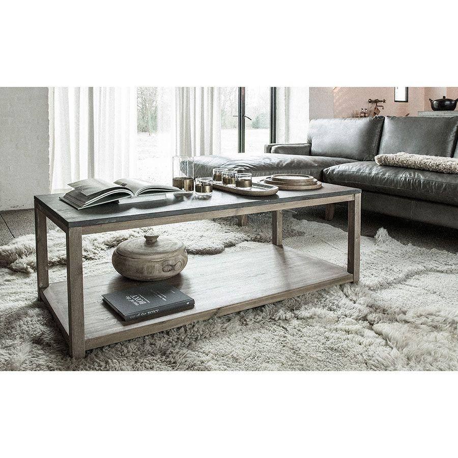 Table basse contemporaine en acacia et béton - Graphite