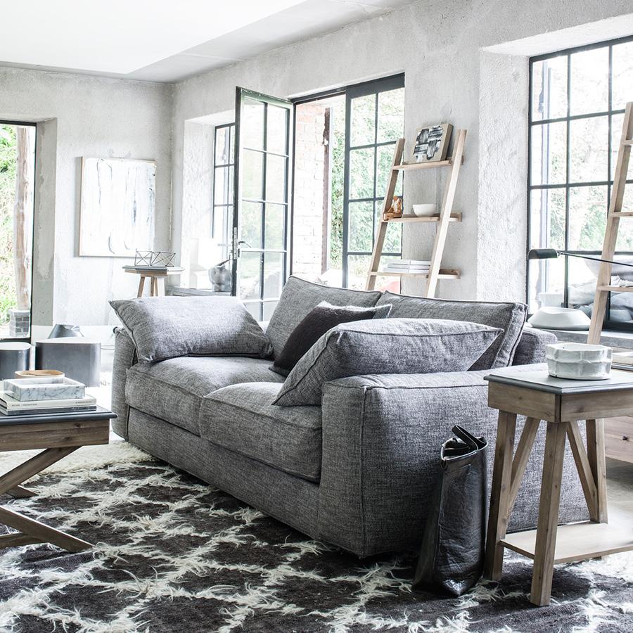 Bout de canapé contemporain en acacia et béton - Horizon