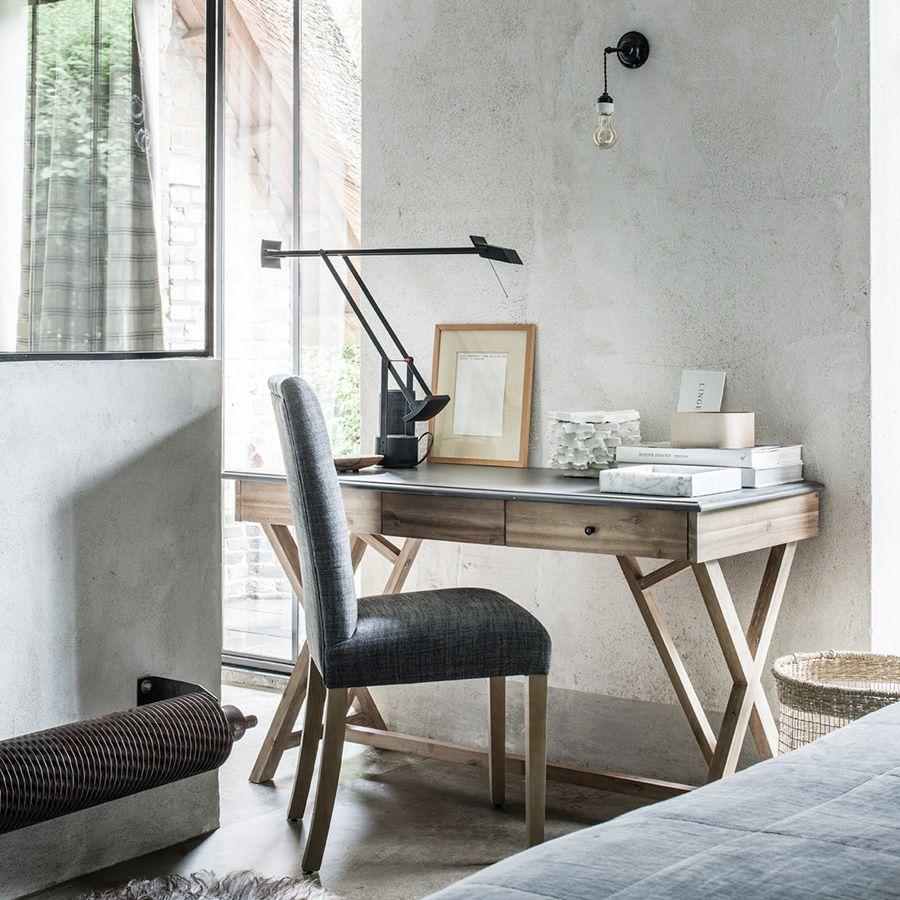 Bureau avec tiroirs en acacia et béton - Horizon