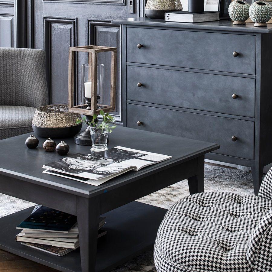 Table basse noire carrée contemporaine - Maine