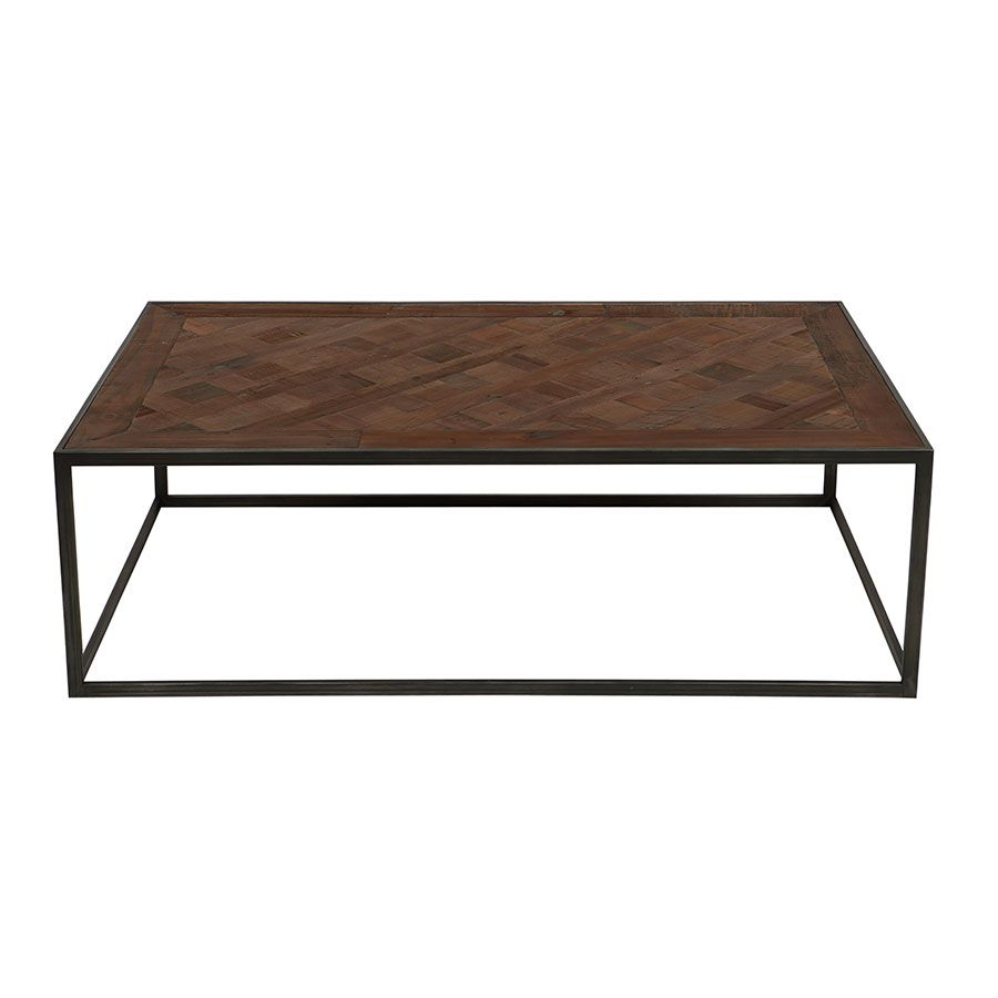 Table basse rectangulaire industrielle en bois recyclé - Loft