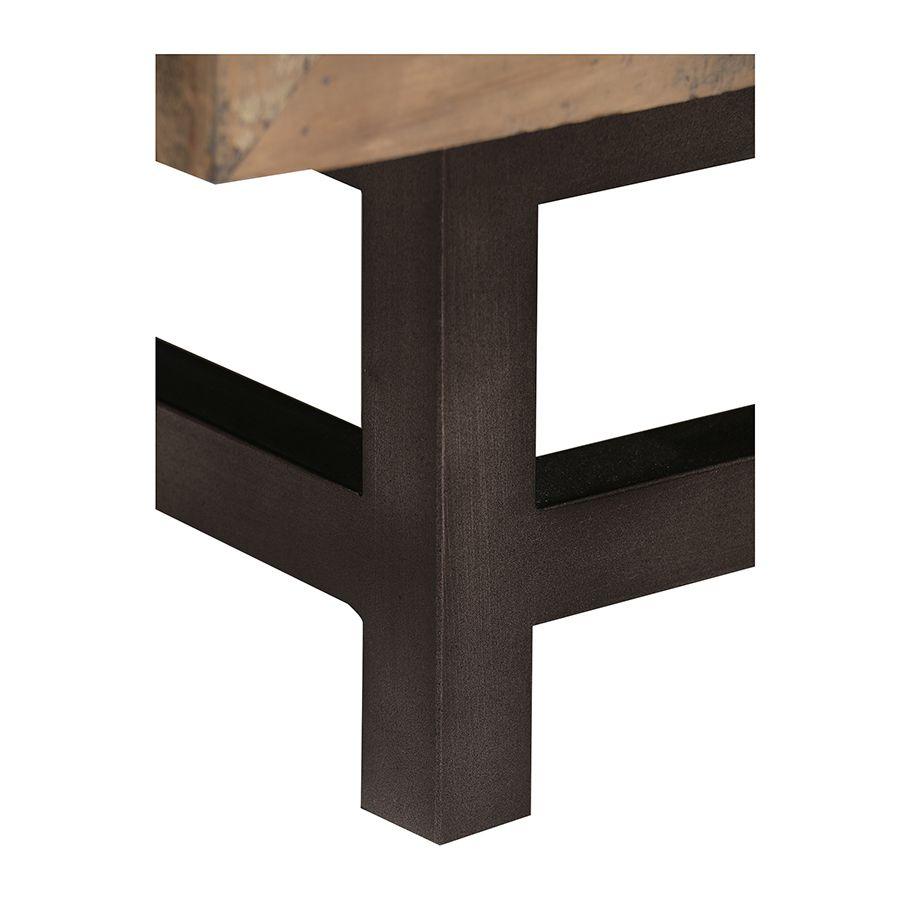 Commode industrielle 3 tiroirs en bois recyclé naturel grisé - Empreintes