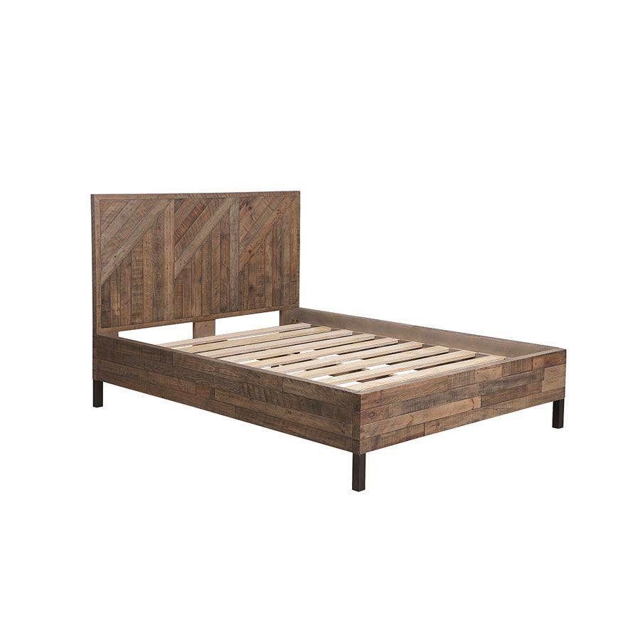 Lit industriel 140x190 en bois recyclé naturel grisé - Empreintes