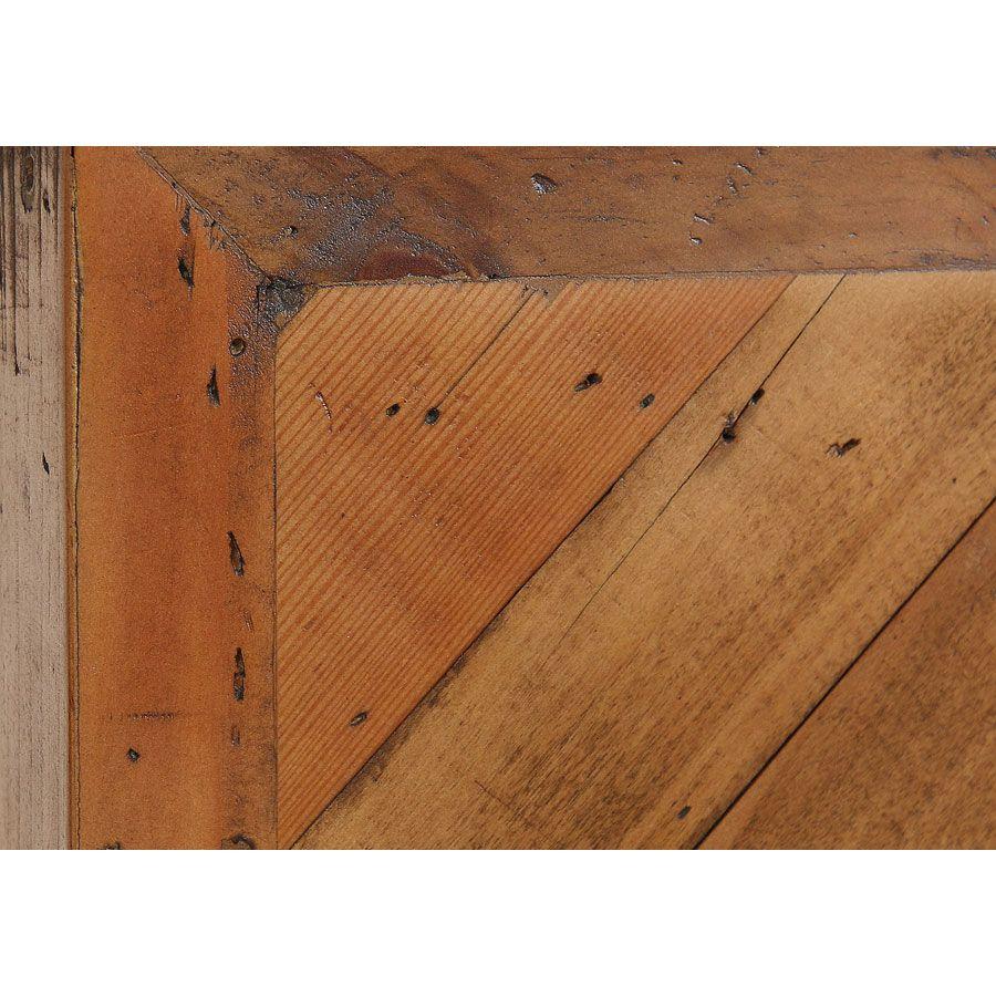 Table basse ovale industrielle en bois recyclé et acier - Empreintes