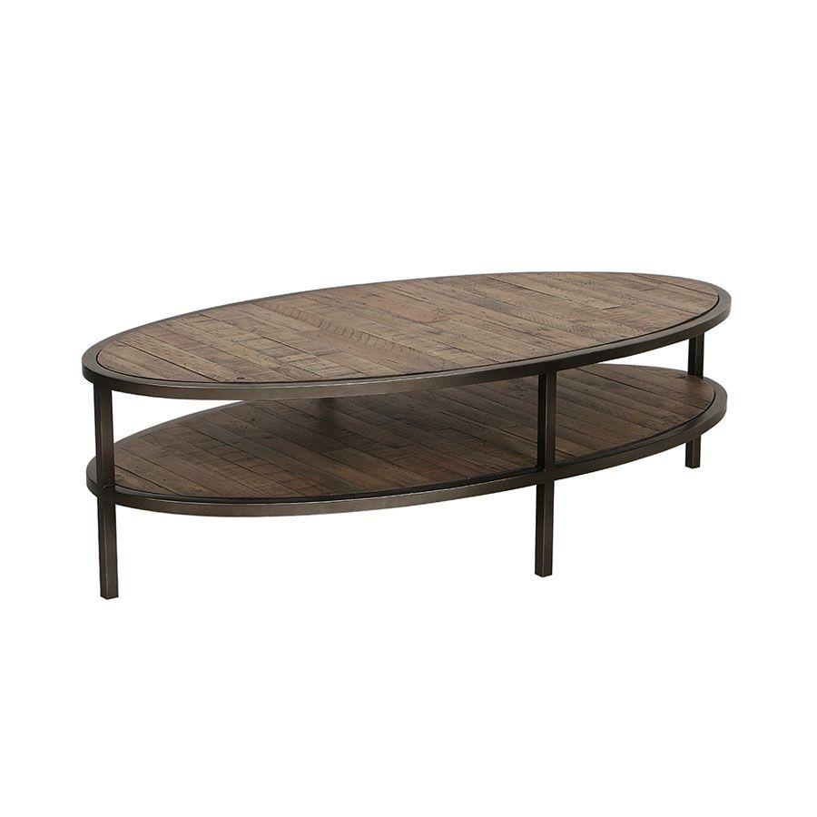 Table basse ovale industrielle en bois recyclé - Empreintes