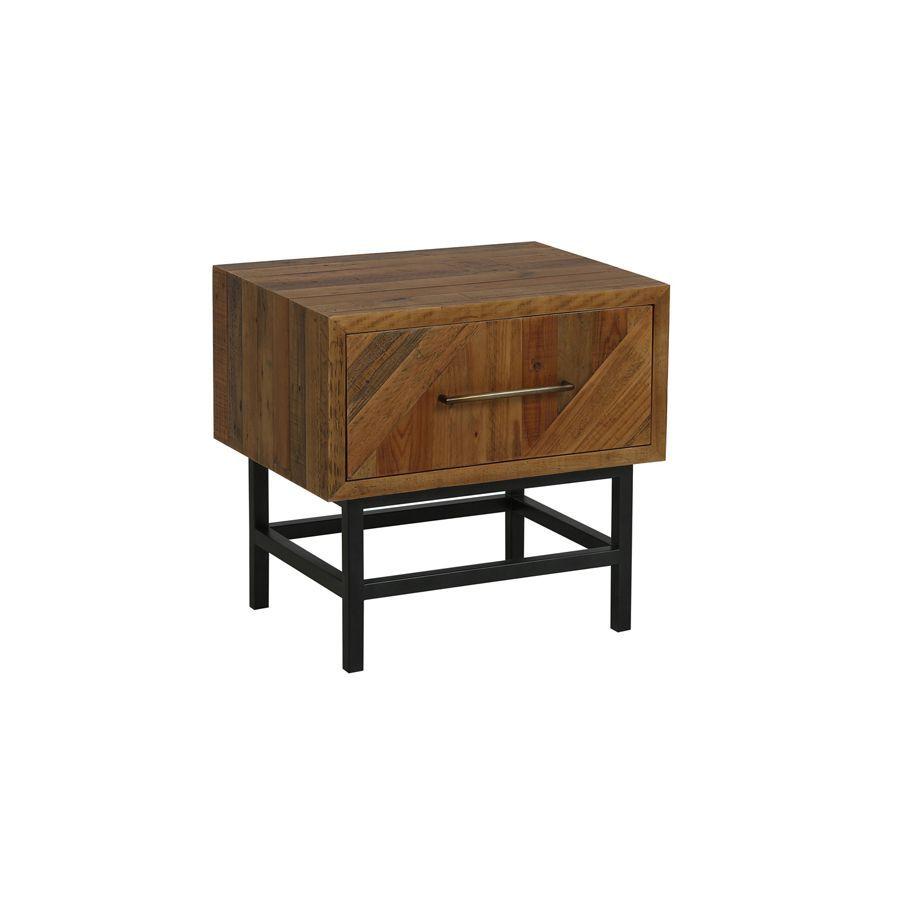 Table de chevet industrielle en bois recyclé - Empreintes