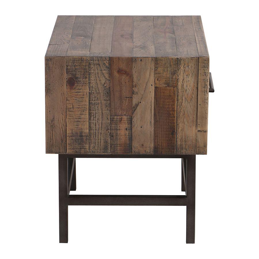 Table de chevet industrielle en bois recyclé naturel grisé - Empreintes