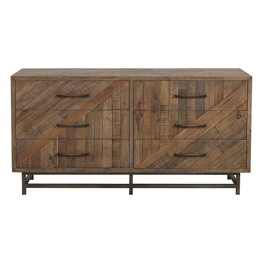 Commode double industrielle en bois recyclé naturel grisé - Empreintes