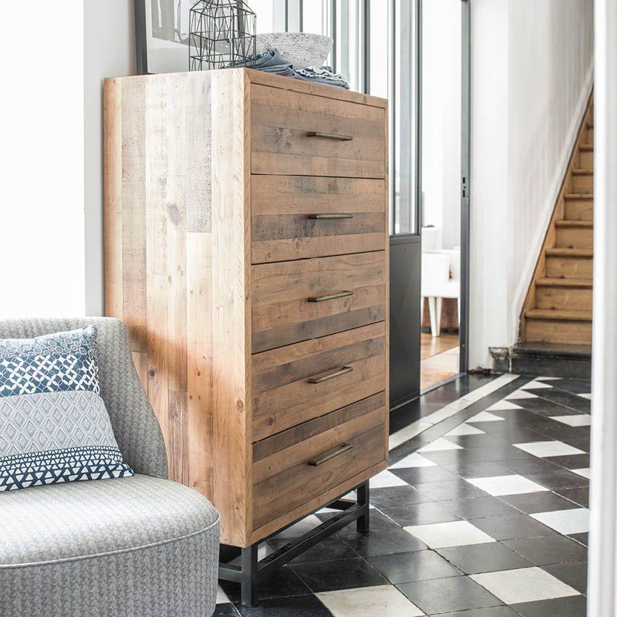 Commode semainier industrielle en bois recyclé - Empreintes