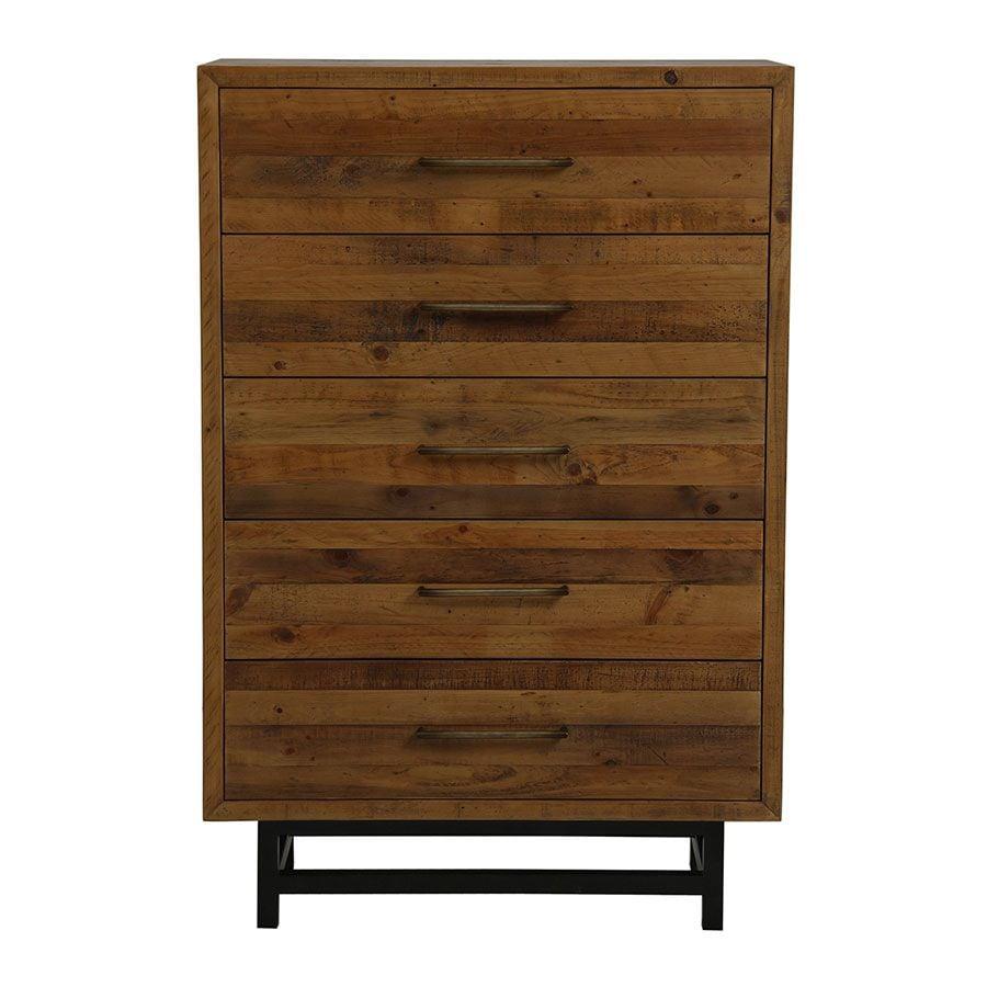 Commode chiffonnier industrielle en bois recyclé - Empreintes