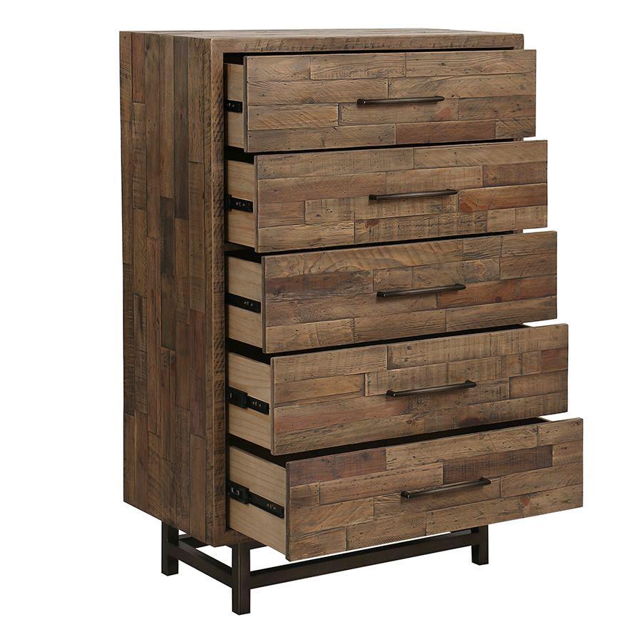 Commode semainier industrielle en bois recyclé naturel grisé - Empreintes