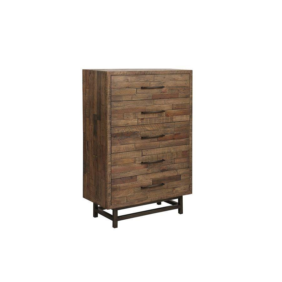 Commode chiffonnier industrielle en bois recyclé naturel grisé - Empreintes