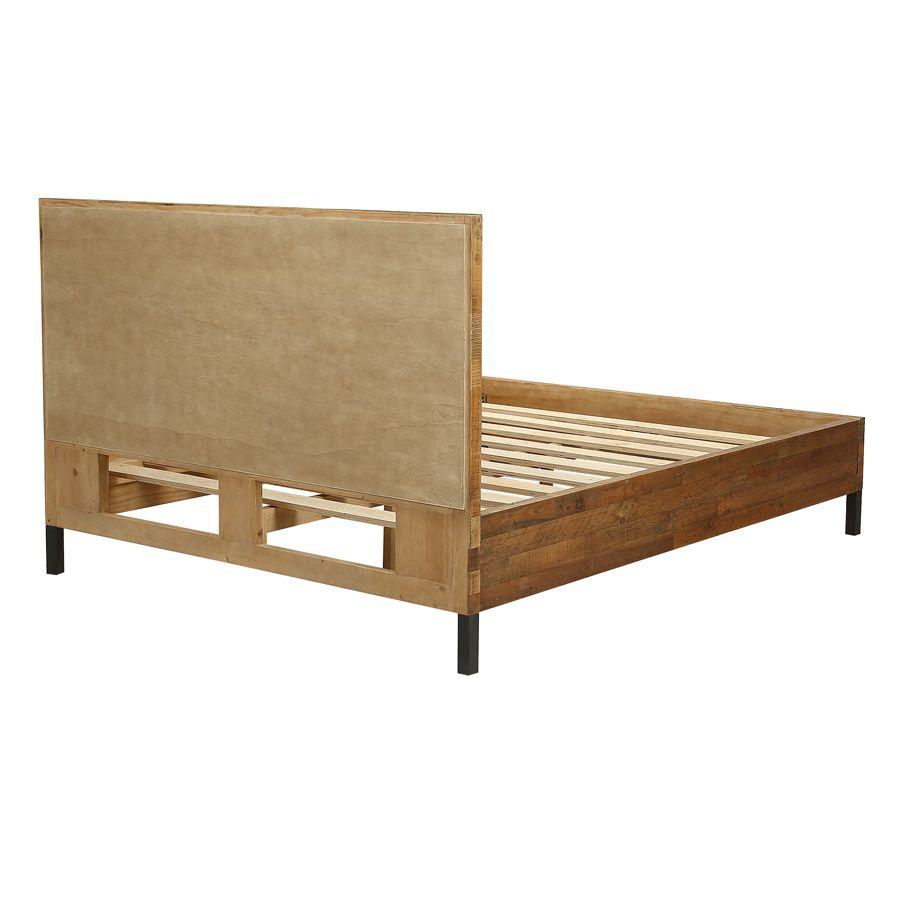 Lit industriel 160x200 en bois recyclé - Empreintes