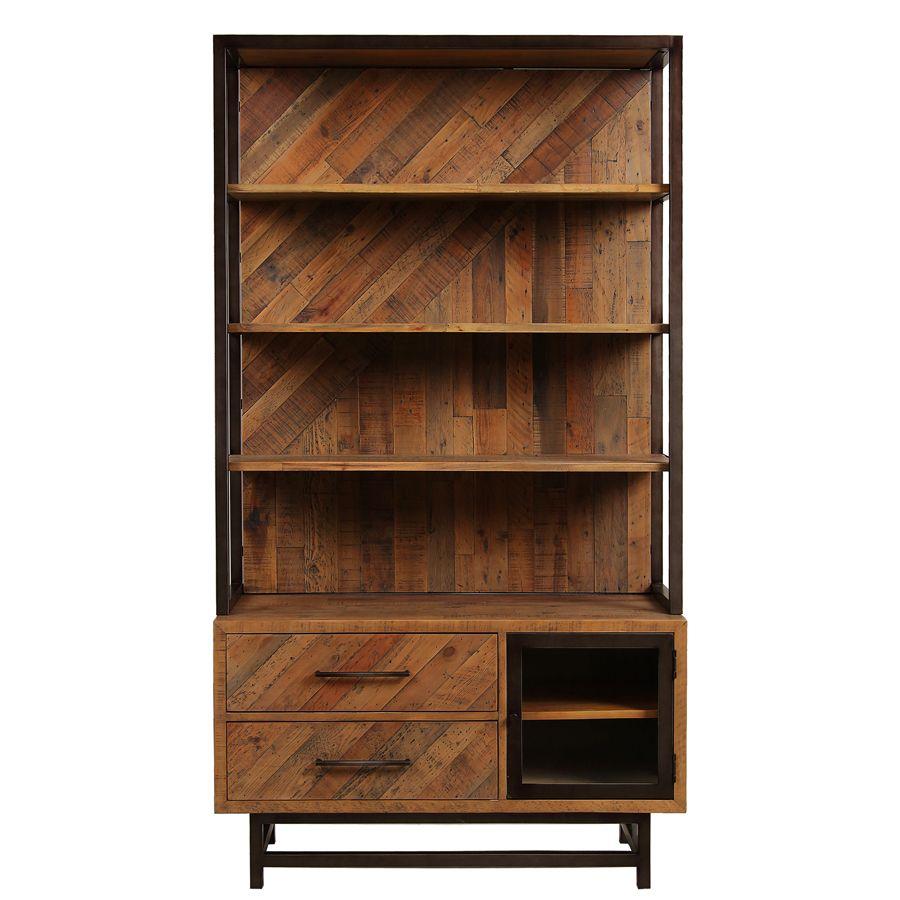 Bibliothèque industrielle en bois recyclé - Empreintes