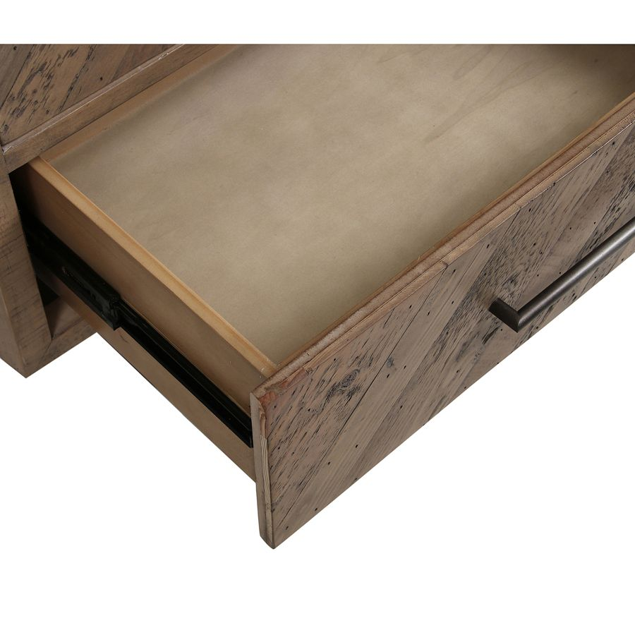 Bibliothèque industrielle en bois recyclé naturel grisé - Empreintes