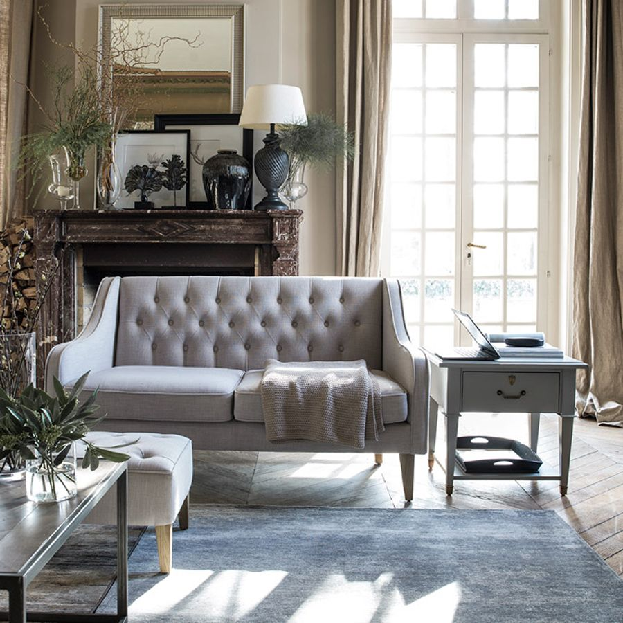 Bout de canapé en acacia massif gris perle - Cénacle
