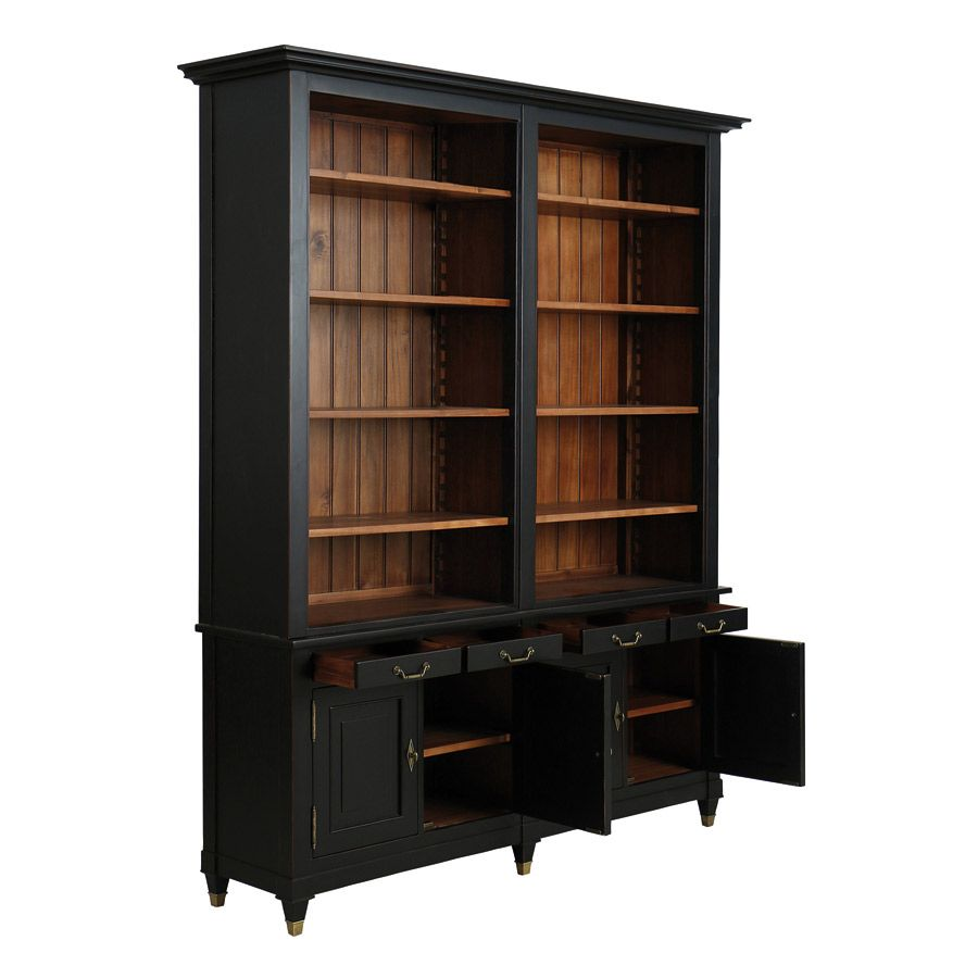 Bibliothèque noire en acacia massif - Cénacle