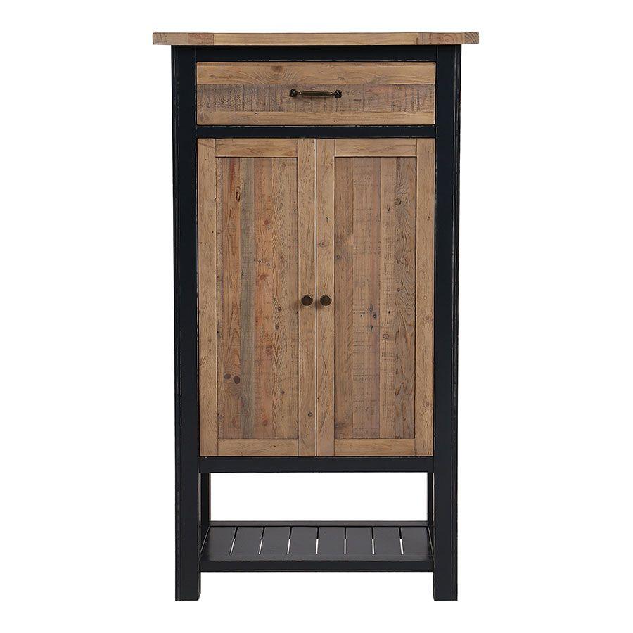 Cabinet de rangement bleu en bois recyclé - Rivages