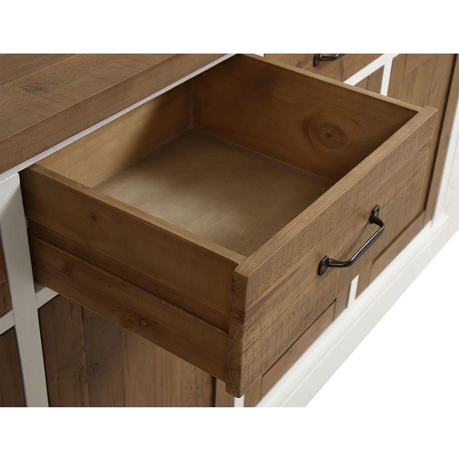 Buffet bas 4 portes 4 tiroirs en bois recyclé - Rivages