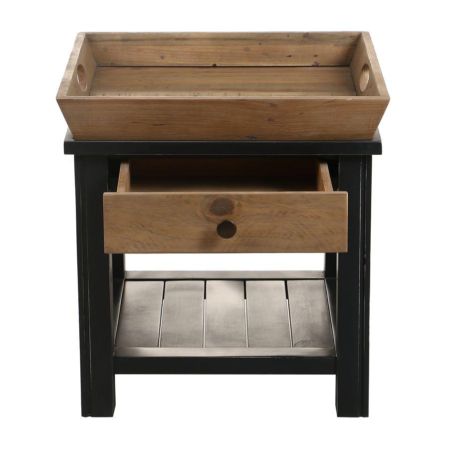 Bout de canapé bleu 1 tiroir en bois recyclé - Rivages
