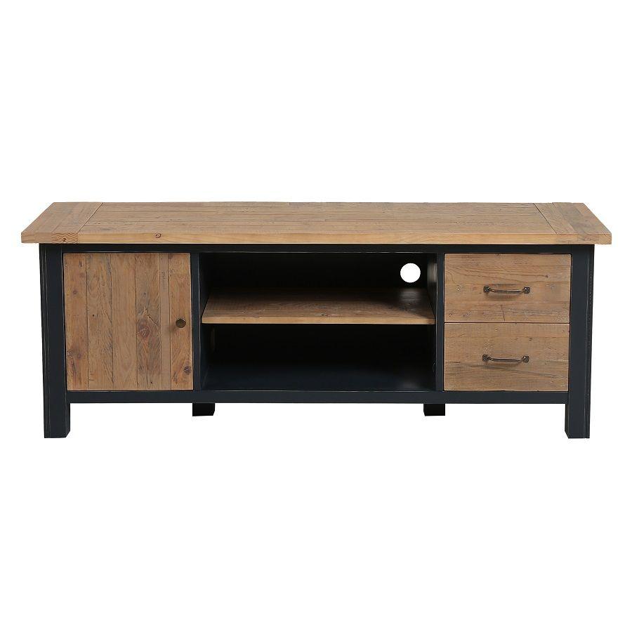 Meuble TV bleu avec rangements en bois recyclé - Rivages