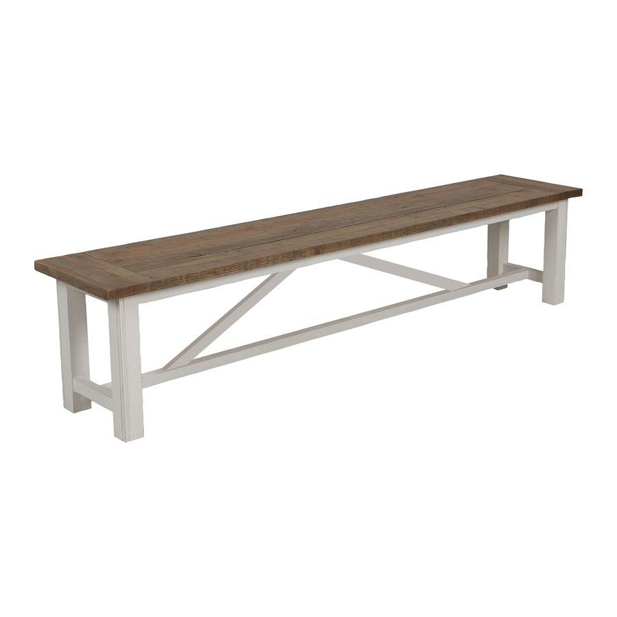 Banc blanc en bois recyclé L210 cm - Rivages