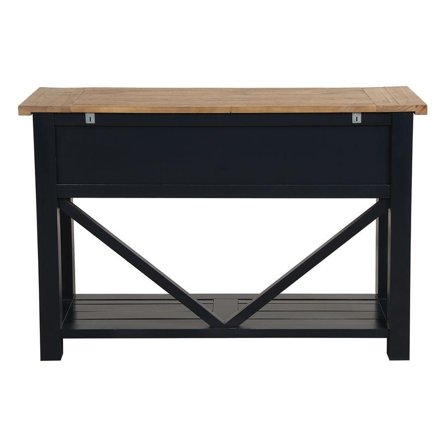Console 3 tiroirs en bois recyclé bleu navy - Rivages