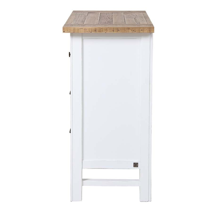 Commode 5 tiroirs en bois recyclé blanc - Rivages