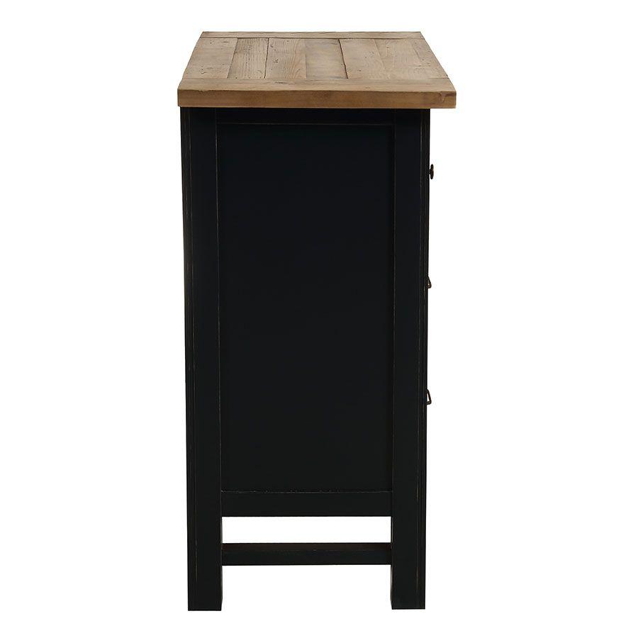 Commode 5 tiroirs en bois recyclé bleu navy - Rivages