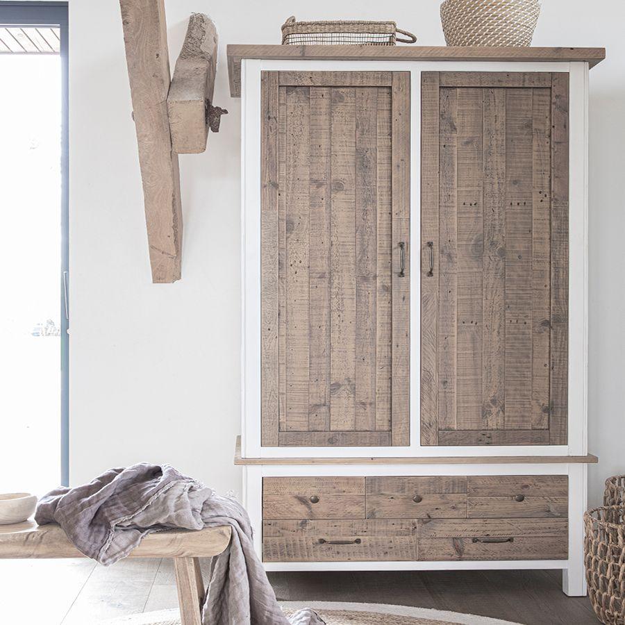 Armoire 2 portes en bois recyclé blanc -Rivages