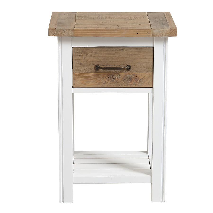 Table de chevet en bois recyclé blanc - Rivages