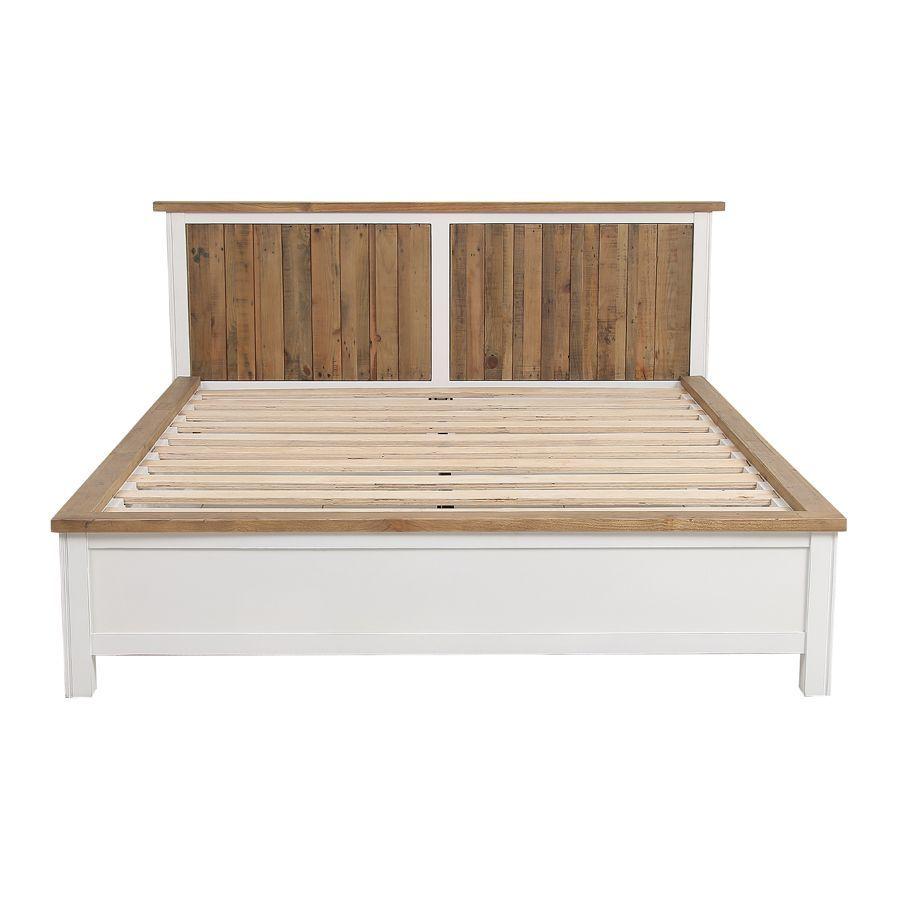 Lit 160x200en bois recyclé blanc -Rivages