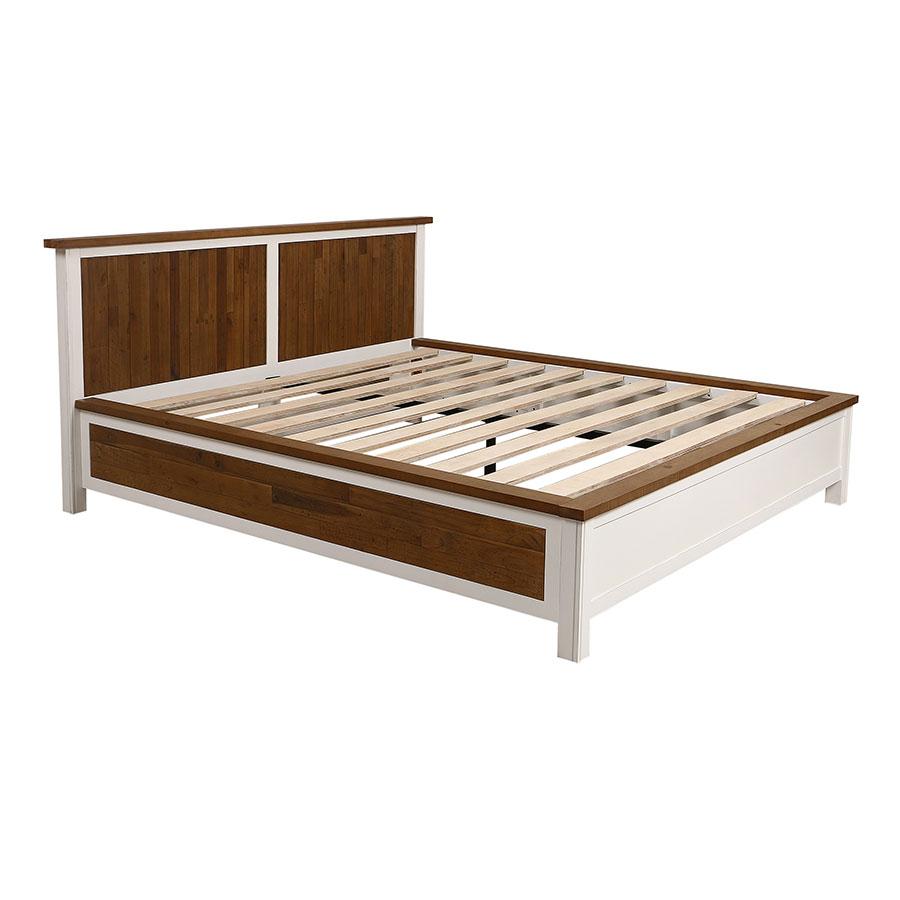 Lit 180x200 en bois recyclé blanc – Rivages