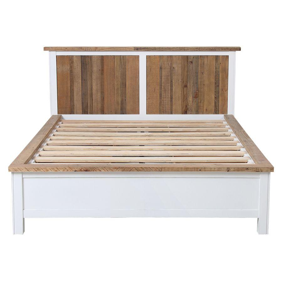 Lit 140x190 blanc avec tiroirs - Rivages