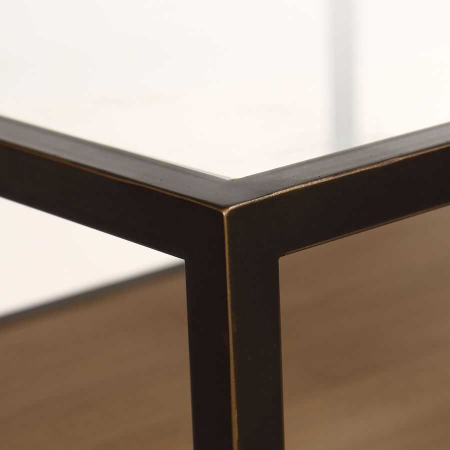 Table basse contemporaine en bois, verre et métal - Demeure