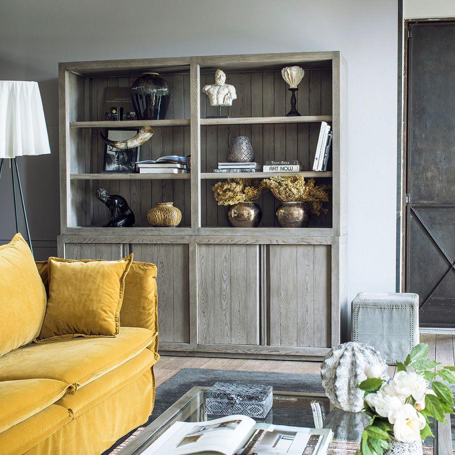 Buffet contemporain 4 portes 2 tiroirs en frêne naturel fumé - Basale