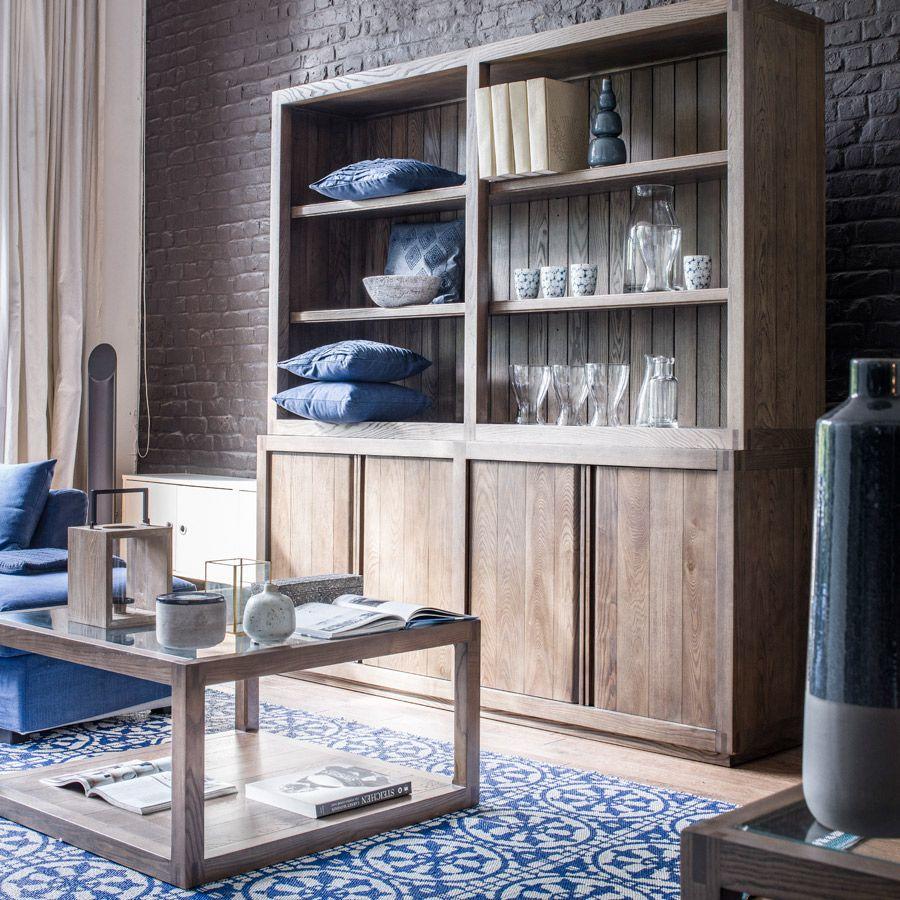 Buffet bas contemporain 4 portes 2 tiroirs en frêne - Basale