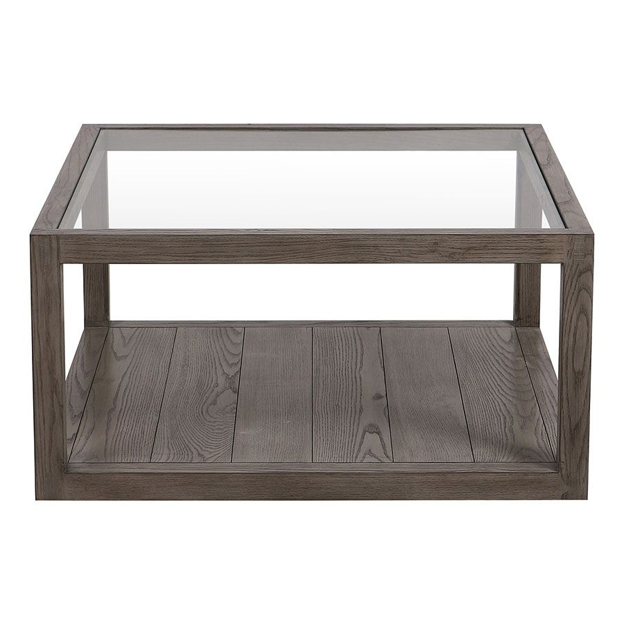 Table basse carrée contemporaine en frêne naturel fumé - Basale