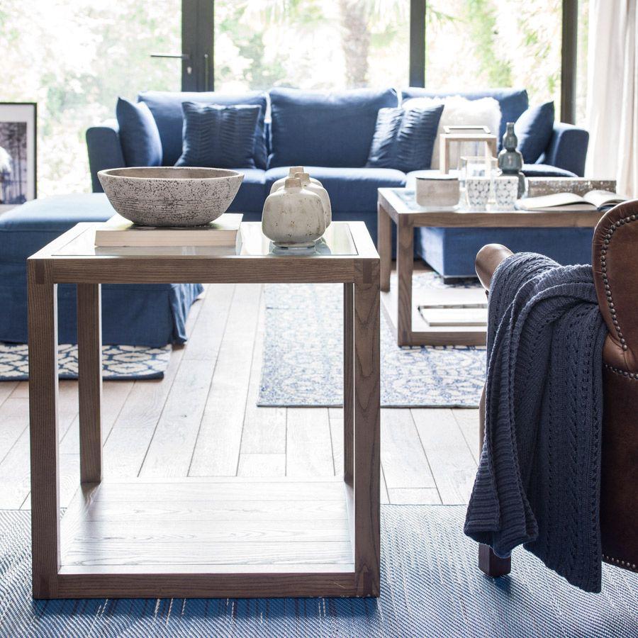 Bout de canapé contemporain en verre et frêne - Basale