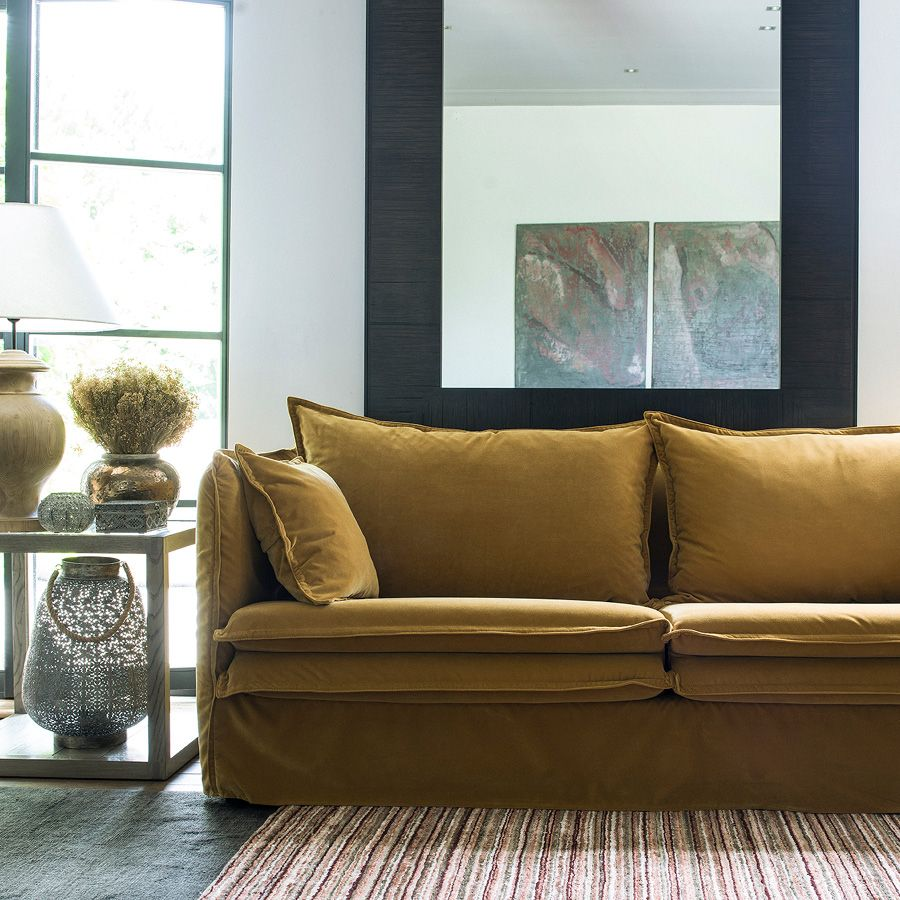 Bout de canapé contemporain en verre et frêne naturel fumé - Basale
