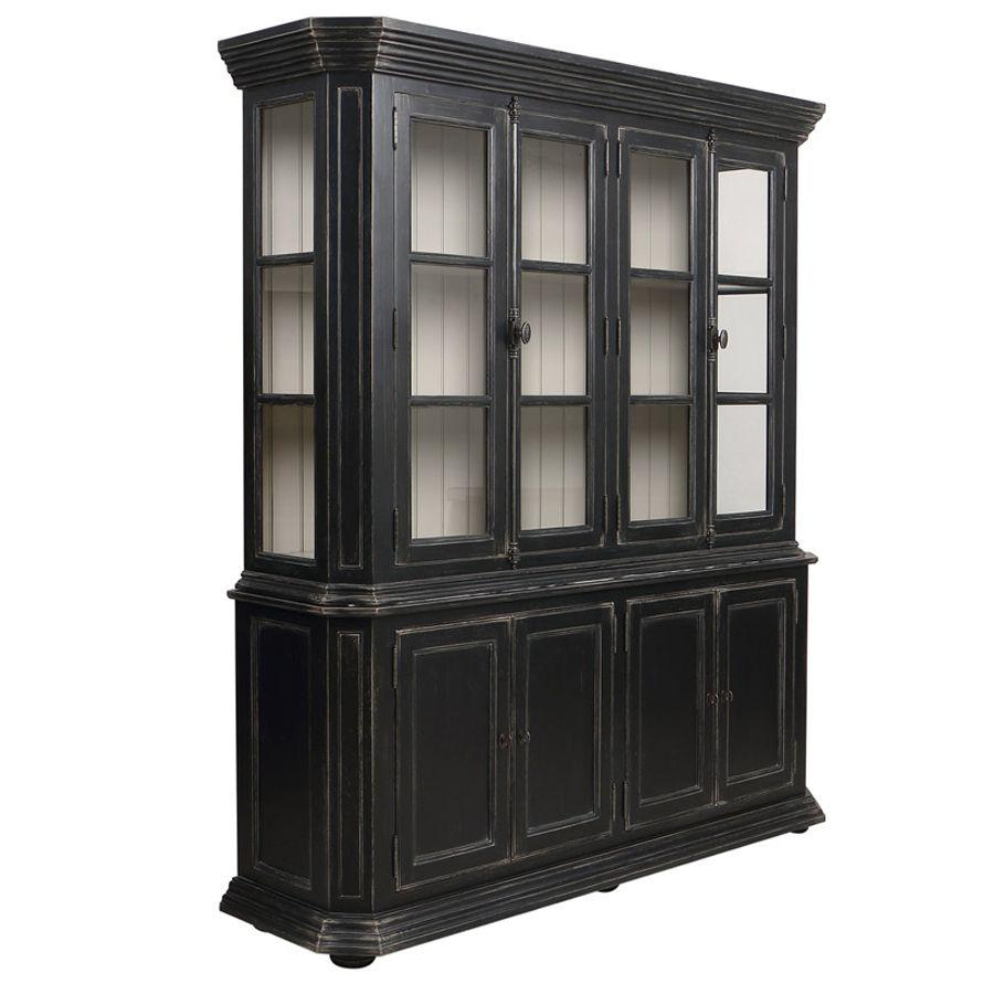 Buffet vaisselier noir 4 portes vitrées - Bruges