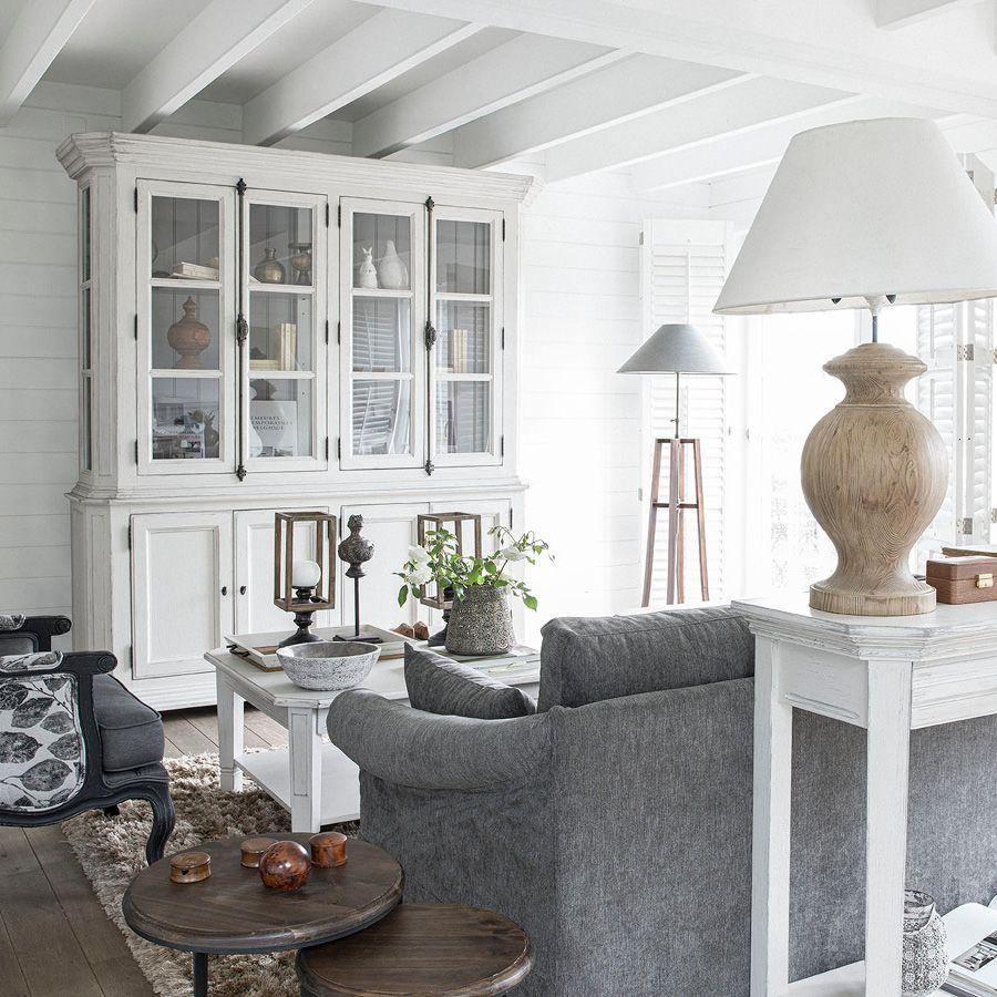 Buffet vaisselier 4 portes vitrées lin vieilli - Bruges