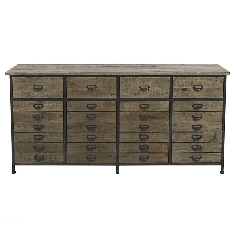 Buffet bas industriel en bois recyclé naturel grisé - Manufacture
