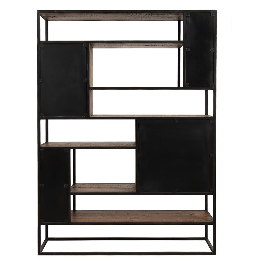 Bibliothèque à cases industrielle en bois recyclé et métal - Manufacture